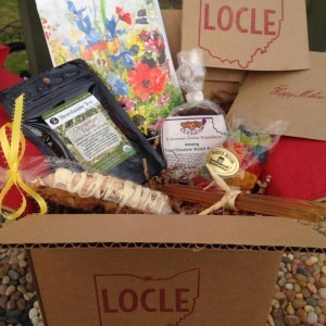 LoCLE boxes packed with northeast Ohio goodies, handwritten note and delivered to doorsteps