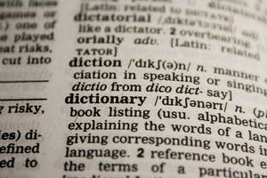dictionary, words