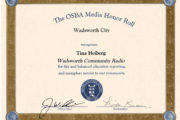 Wadsworth Community Radio recognized by Ohio School Boards Association for fair, balanced school news coverage