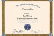 Wadsworth Community Radio recognized by Ohio School Boards Association for fair, balanced school news coverage